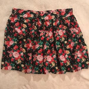Pink and green floral skirt